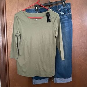 Kim Rogers Olive Scalloped Neck Top NWT PS